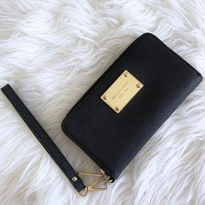 Michael Kors Black Gold Wallet Wristlet